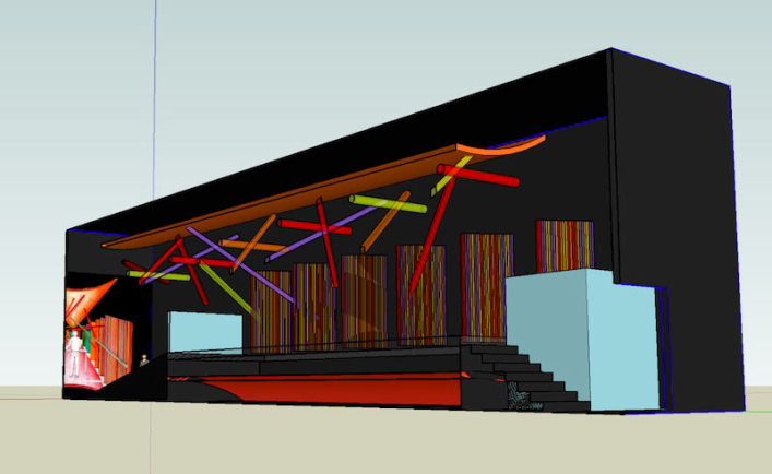 Longitudinal Section through building showing all elements in 3D form
